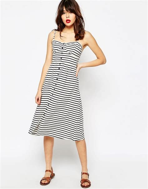 asos asos midi sundress in stripe with button front