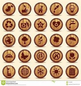 Wood Ecology Icons Set Green Environment Symbols Royalty