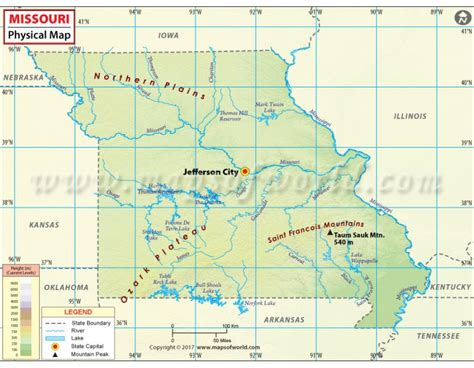 buy physical map of missouri