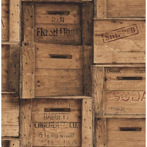 Fine Decor Distinctive Wood Crates Wallpaper Brown