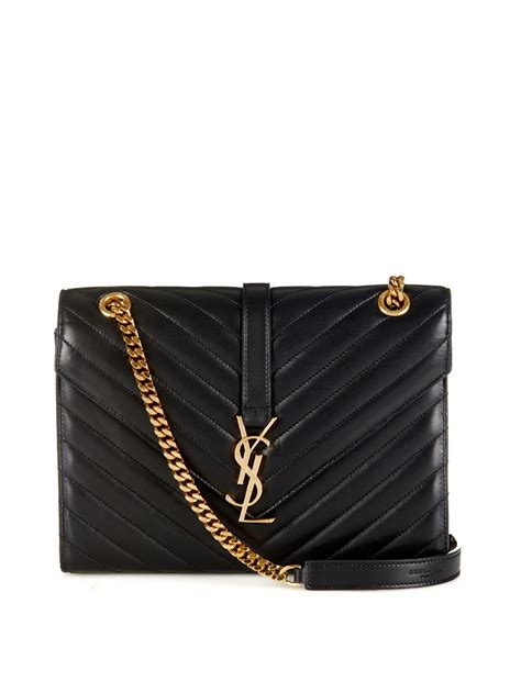 lyst saint laurent classic monogram quilted leather