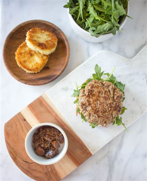 Mustard Burgers With Crispy Goat Cheese & Figonion Compote