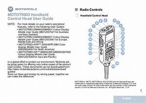 Motorola Mototrbo Xpr5550 Handheld Control Head  Hch  User