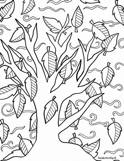 Doodle Coloring Fall Pages Alley Adult Printable