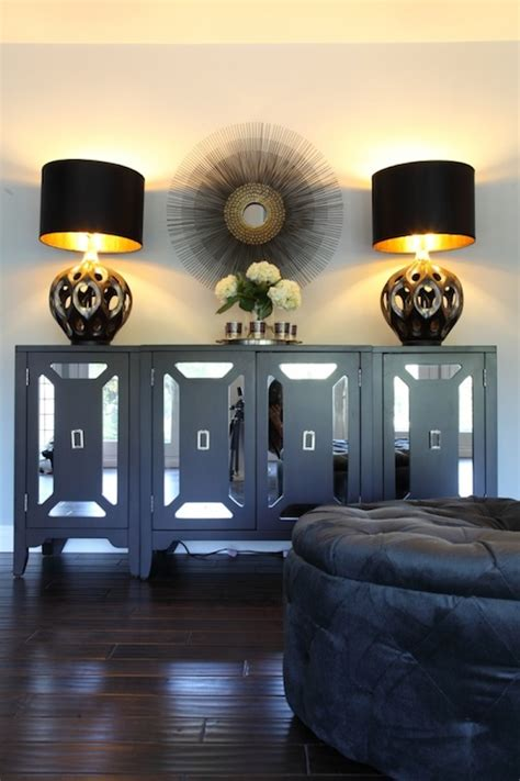 black mirrored cabinet hollywood regency living room
