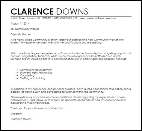 Cover Letter For Community Service Worker by Community Worker Cover Letter Sle Livecareer