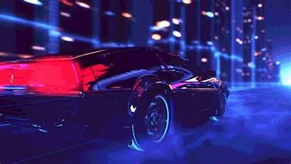 Future Retrowave Epic Delorean Tron Animated Cars