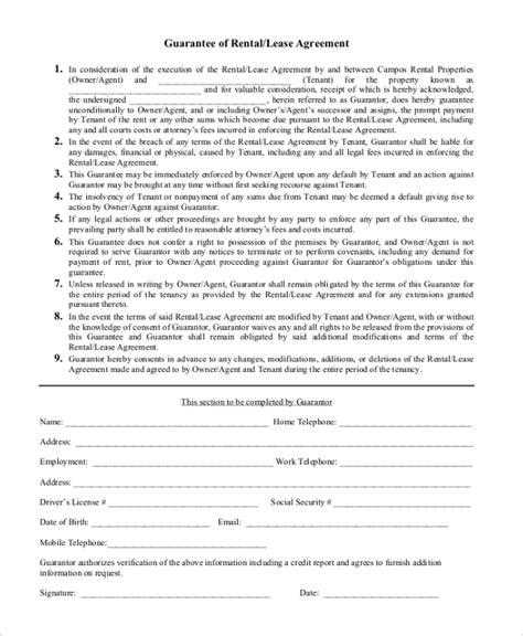 Template Personal Guarantee Agreement Template Personal Guarantee Form Sle Forms