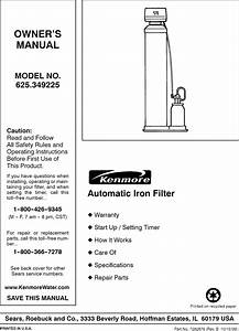 Kenmore 625349225 User Manual Iron Filter Manuals And