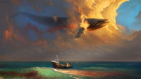 Painted Boats Movie by Whale In The Sky Painting Hd 3d And Abstract Wallpapers