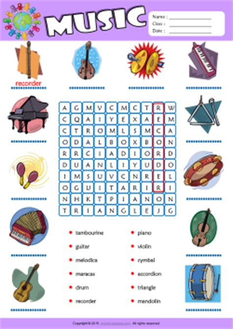 Musical Instruments Word Search Puzzle Esl Vocabulary Worksheet  Mau Hinh  Pinterest Word