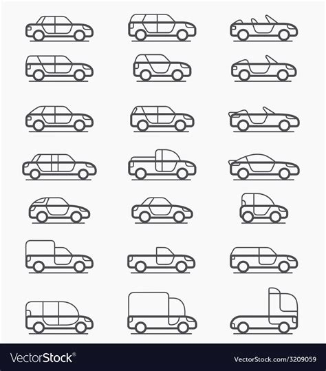 Car Body Types Icons Royalty Free Vector Image