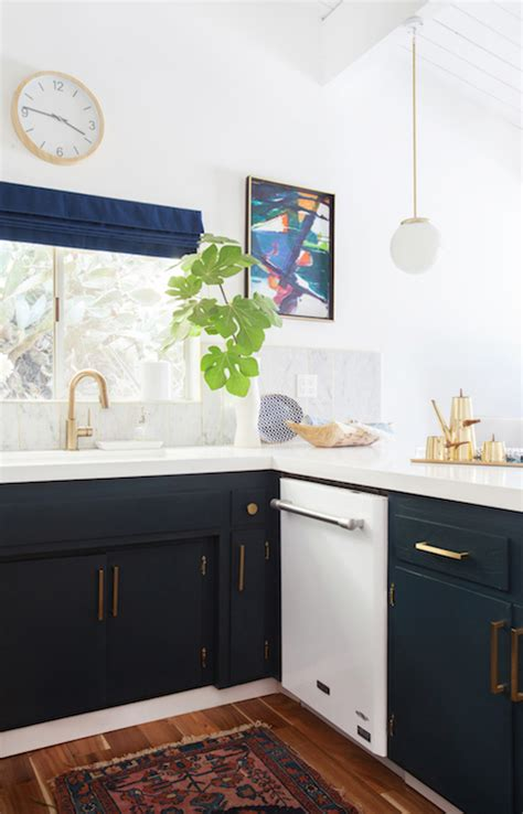 Navy Kitchen Cabinets - Eclectic - kitchen - Farrow and
