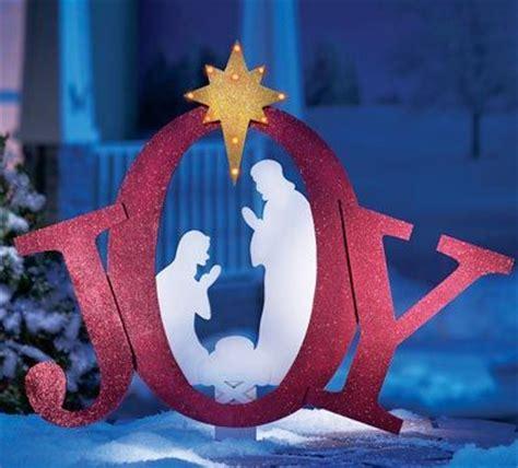 silhouette nativity scene pattern outdoor lighted joy