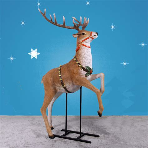 79 quot high life sized rearing reindeer statue