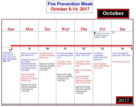 fire prevention week calendar malmstrom air