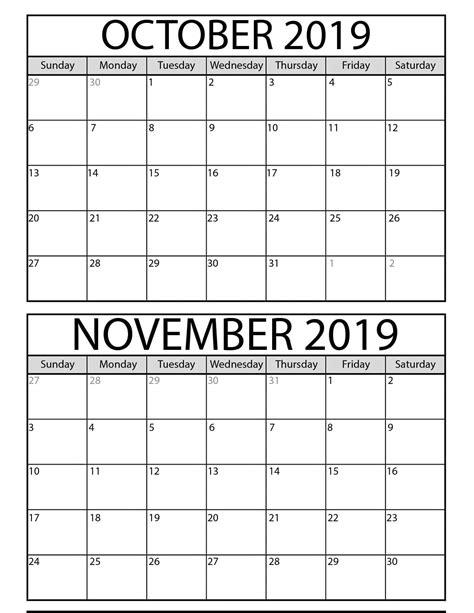 printable october  november  calendar template