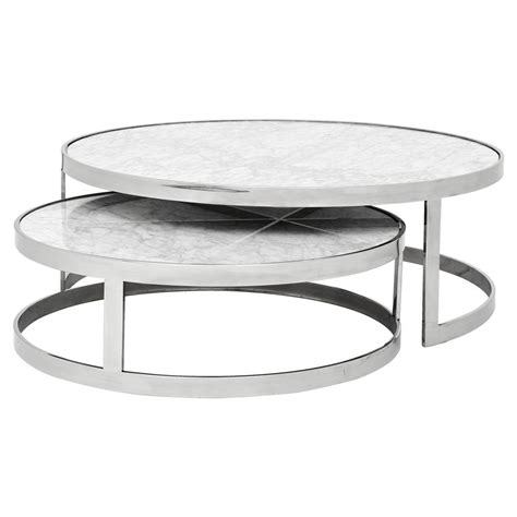 modern white round coffee table eichholtz orlando modern silver white stone 2 piece round