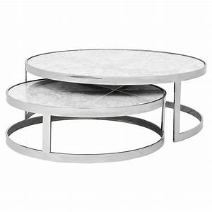Eichholtz orlando modern silver white stone 2 piece round for Marble and silver coffee table
