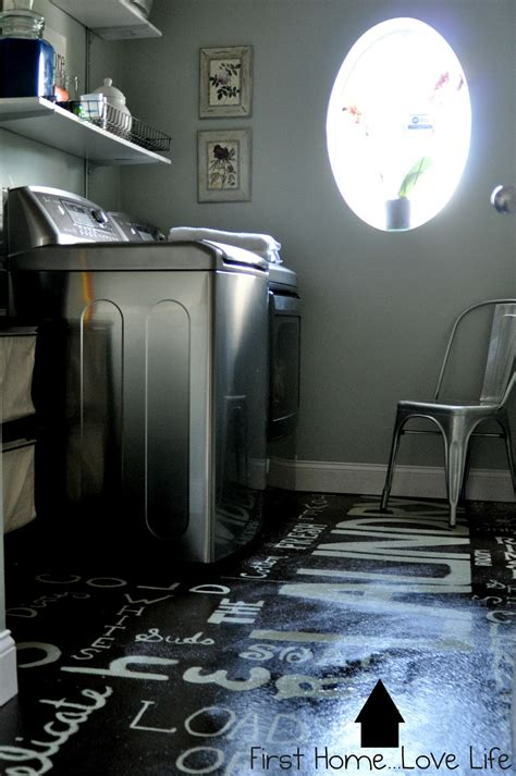 flooring for laundry room remodelaholic subway art painted laundry room floor with how to tutorial