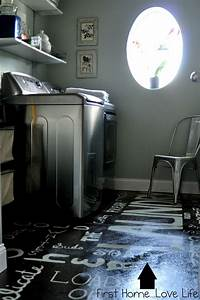 laundry room flooring Remodelaholic | Subway Art Painted Laundry Room Floor With How-To Tutorial