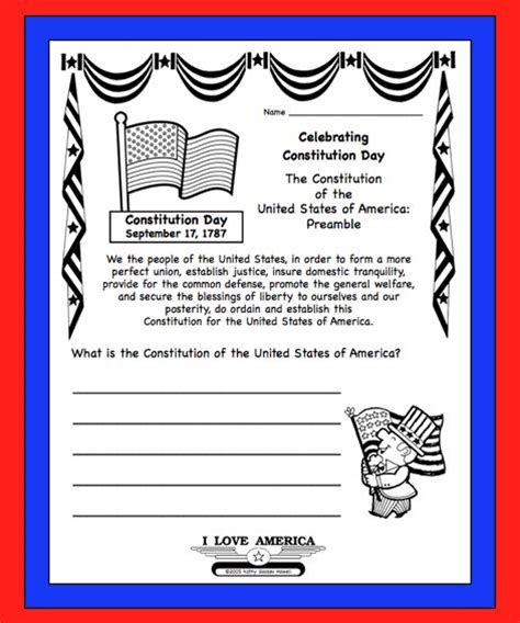 Us Constitution Day  Sept 17 Free Writing & Coloring Worksheet Secondgradesquadcom