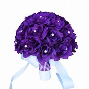 "10"" Bouquet - Purple roses,rhinestone-artificial flowers ..."