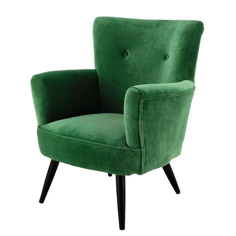 fauteuil en velours vert sao paulo maisons du monde