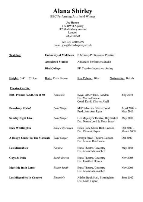 resume template   performing arts  theatre