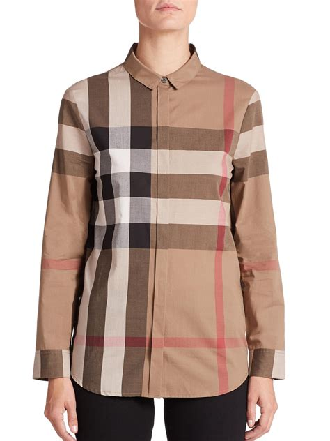 burberry blouse burberry brit cotton check blouse silk pintuck blouse