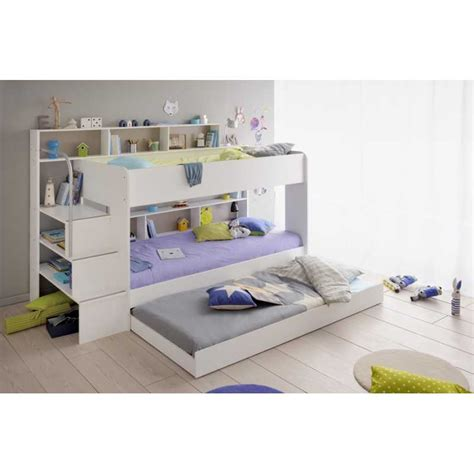lit superpos 201 chambre enfant coloris blanc avec tiroir