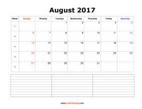 August 2017 Calendar Notes