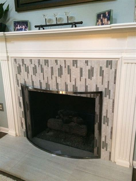 tiled fireplace  vertical mosaics tile ideas fireplaces kitchen cabinet remodel tiles