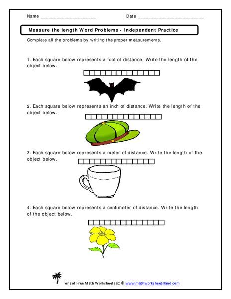 measure the length word problems worksheet for 2nd 3rd grade lesson planet