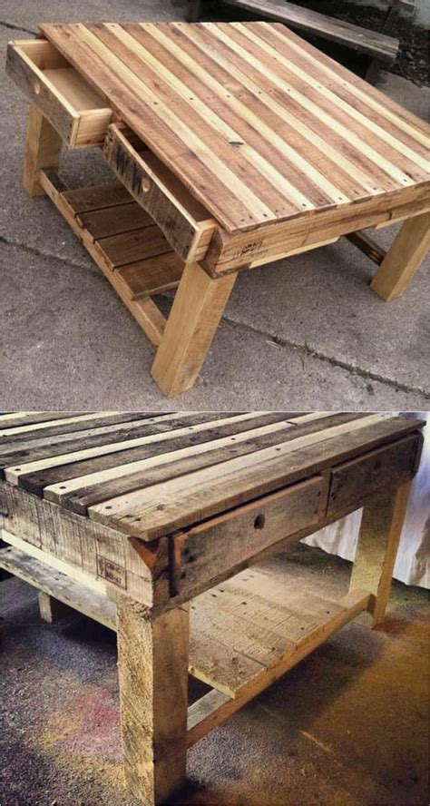 Another great example of a diy coffee table project lies in the wooden fibers of old doors that can be cut and reassembled into creative storage. 12 Easy Pallet Sofas and Coffee Tables to DIY in One ...