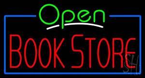 Green Open Book Store Blue Border Neon Sign