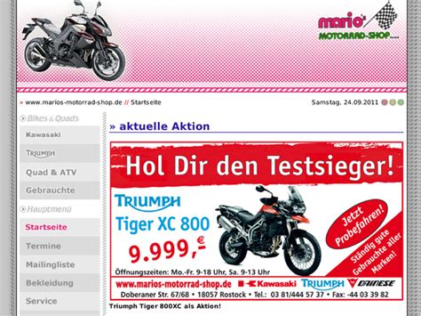 motorrad shop mario s motorrad shop triumph rostock in rostock motorradh 228 ndler