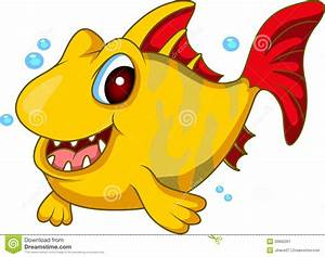 Cute yellow fish cartoon stock illustration. Illustration ...