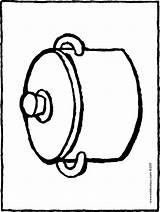 Colouring Pot Cooking Kiddicolour Saucepan sketch template