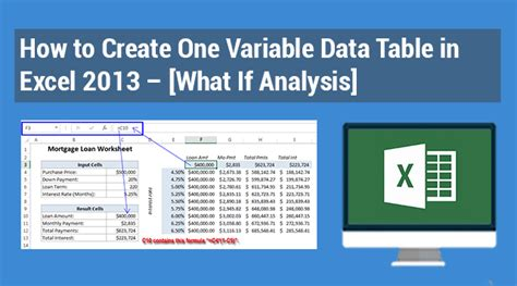 what if analysis data table how to create one variable data table in excel 2013