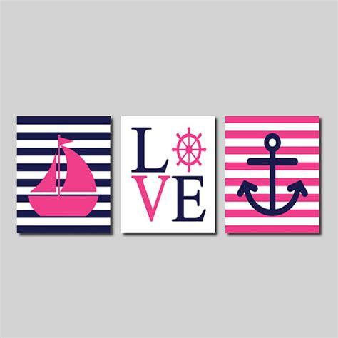 sailboat wall decor nursery nautical pink navy wall sailboat captains wheel
