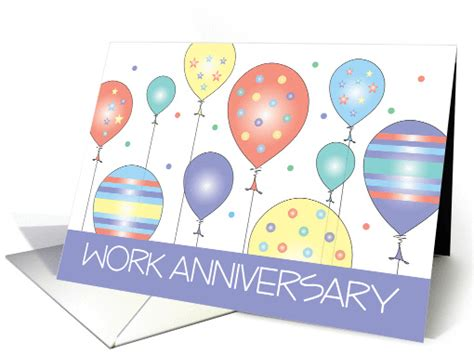 work anniversary congratulations with colorful balloons card 1293558