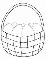 Easter Basket Coloring Eggs Pages Simple Printable Crafts Egg Print Drawing Bunny Children Paper Sheets Printables Exercise Preschoolers sketch template