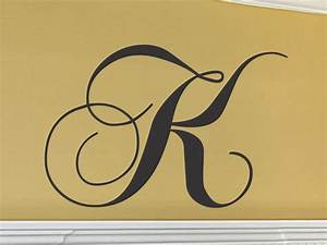 Initial wall decal single letter monogram decal cornhole board for Large letter k wall decor
