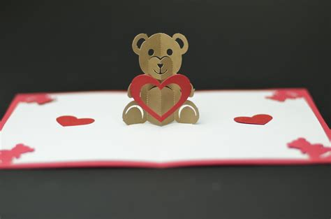 creative pop up cards templates free free valentines day pop up card templates teddy pop