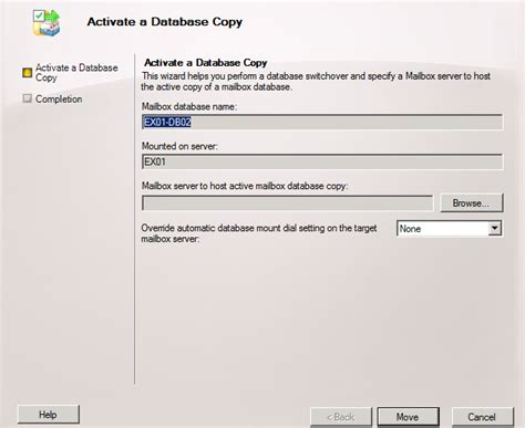 moving the active database copy to another dag member in
