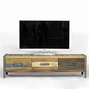 meuble tv industriel bois de bateau recycle pas cher en With maison du monde meuble tv 3 meuble tv industriel factory 2 tiroirs origins meubles