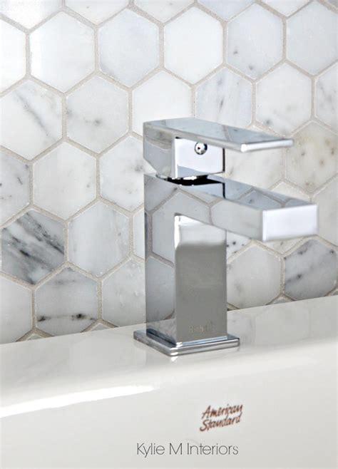 marble hexagon pattern backsplash tile mosaic shown