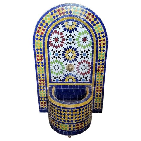 bella moroccan mosaic arched fountain   mosaic