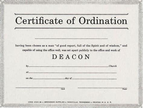 deacon ordination billfold certificate certificate
